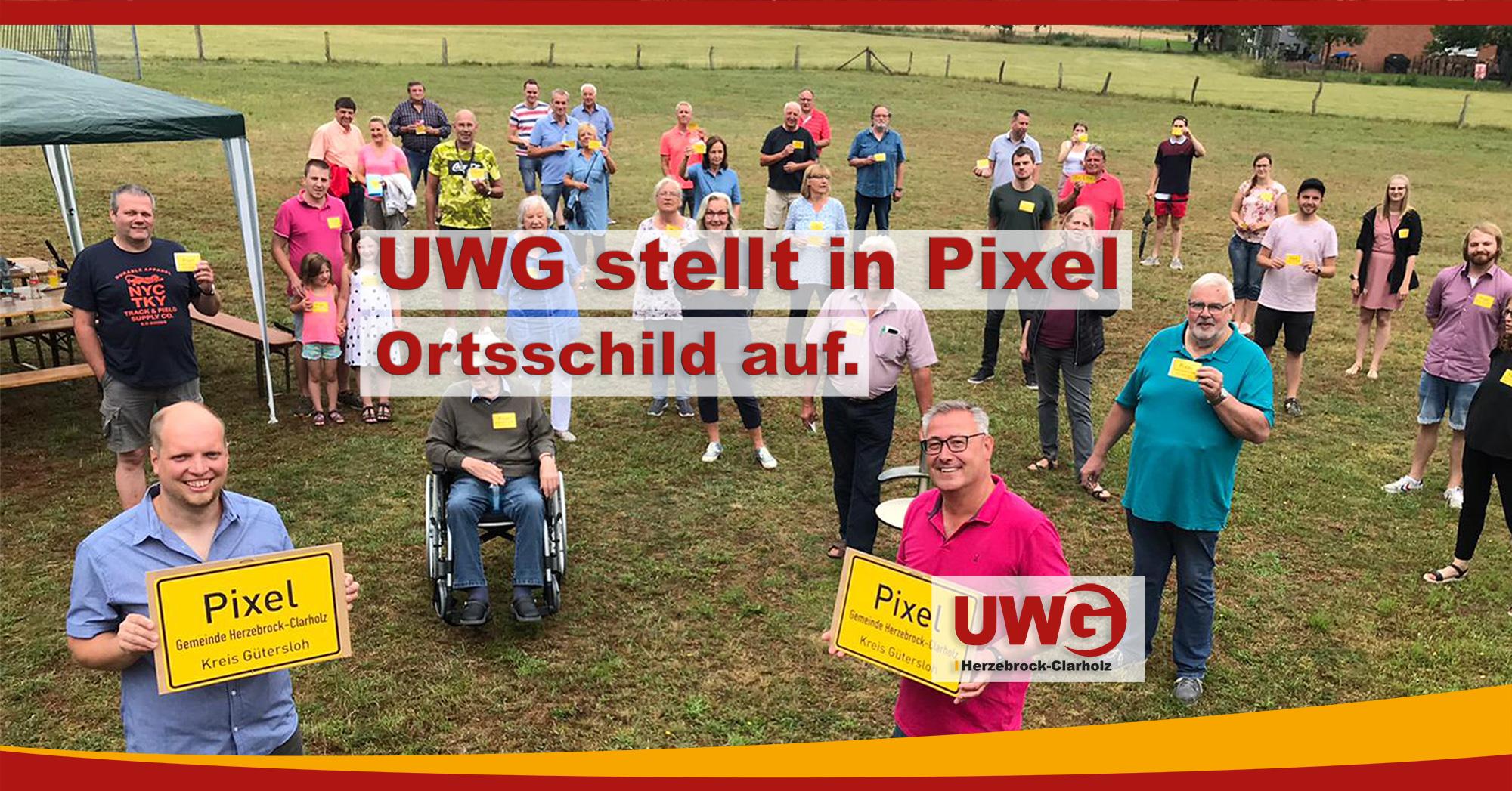 UWG stellt in Pixel Ortsschild auf